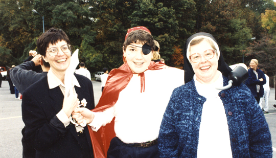 Mary Ann Adams and student dressed as pirate 1995-sm