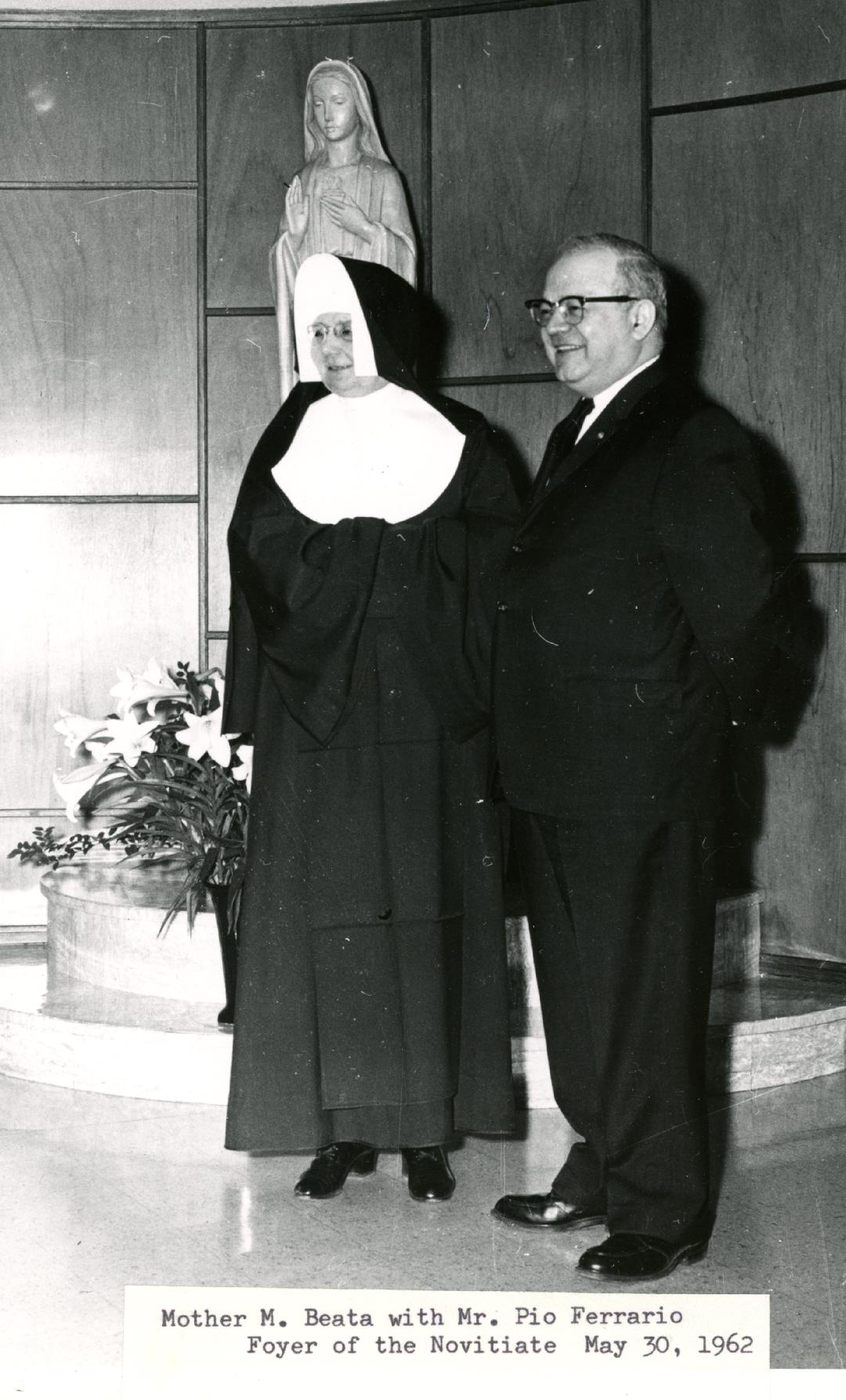 Mother Beata and Mr. Peo Ferrario, Foyer of the Novitiate, May 30, 1962